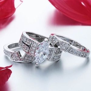 Jewelry - STERLING SILVER 3 PIECE MARQUIS WEDDING SET